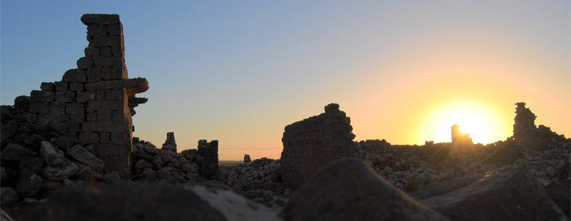 Main image: Sunset over tumbled basalt.